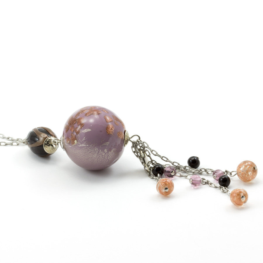 JANET – Violet Murano Glass Round Pendant Necklace - www.LaBellaDentro.com