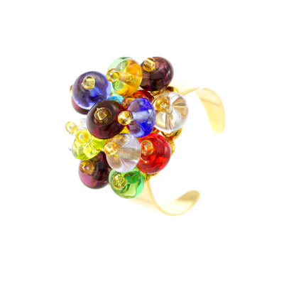 KLARISSA - Multi-Colored Murano Glass Droplets Ring - www.LaBellaDentro.com