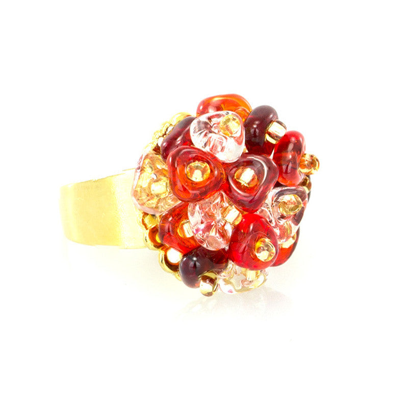 KLARISSA - Red and White Murano Droplets Glass Ring - www.LaBellaDentro.com