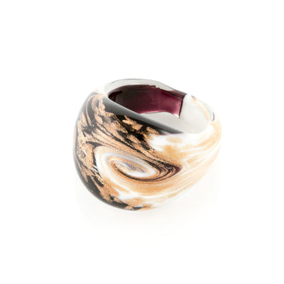 LAGUNA - Black and White Murano Glass Ring with Aventurina - www.LaBellaDentro.com
