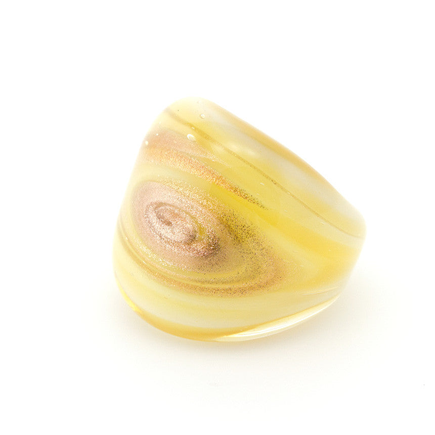 LAGUNA - Murano Glass Honey Ring with Aventurina - www.LaBellaDentro.com