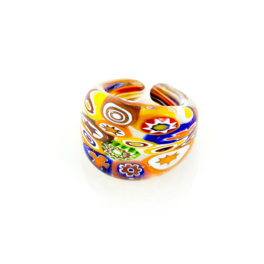 LAGUNA - Multicolored Millefiori Murano Glass Ring - www.LaBellaDentro.com