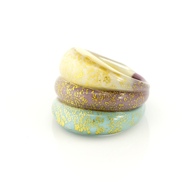 LAGUNA - Three Toned Murano Glass Ring - www.LaBellaDentro.com