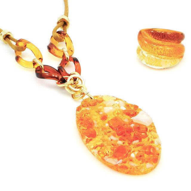 LORA- Amber Murano Glass Stone Pendant Necklace - www.LaBellaDentro.com