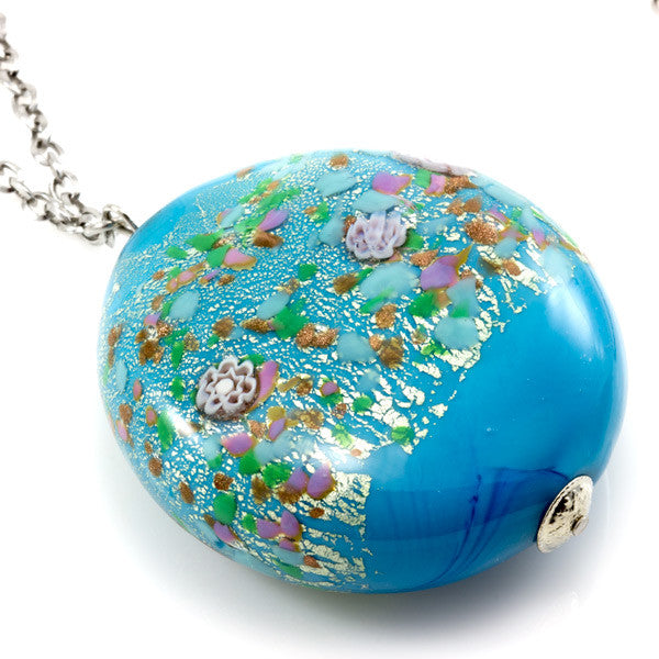 MARA – Blue Murano glass long circular necklace - www.LaBellaDentro.com