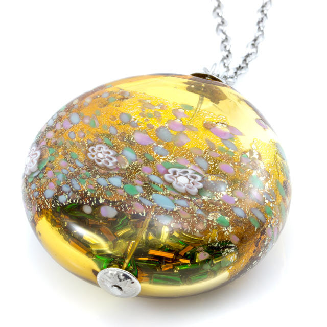 MARA – Topaz Murano glass long circular necklace - www.LaBellaDentro.com