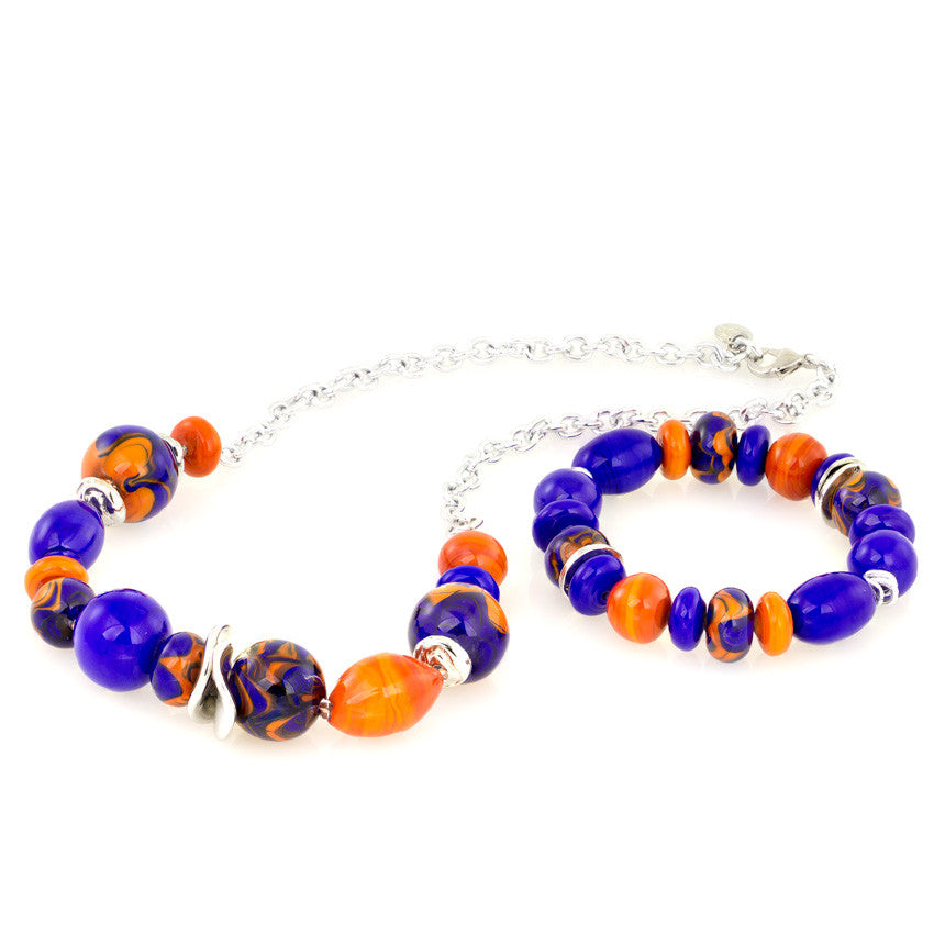 MEGAN – Murano Glass Bead Set with Necklace and Bracelet, Orange and Blue - www.LaBellaDentro.com