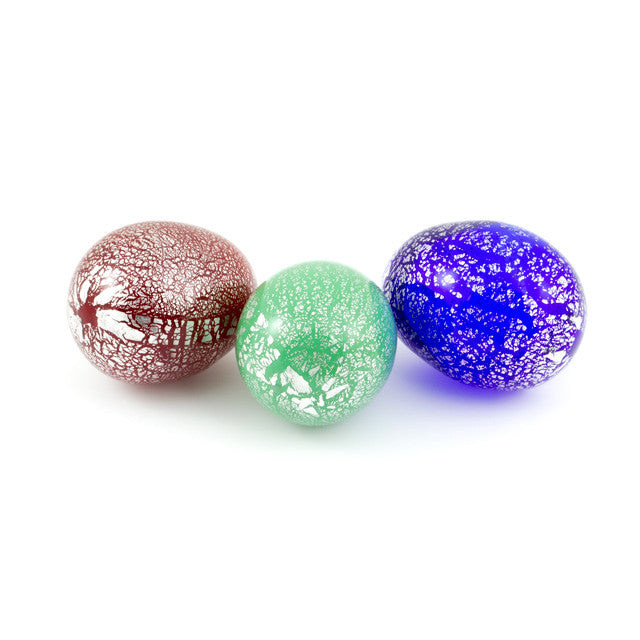 Murano Glass Eggs with Silver Foil: Blue, Red and Green - www.LaBellaDentro.com