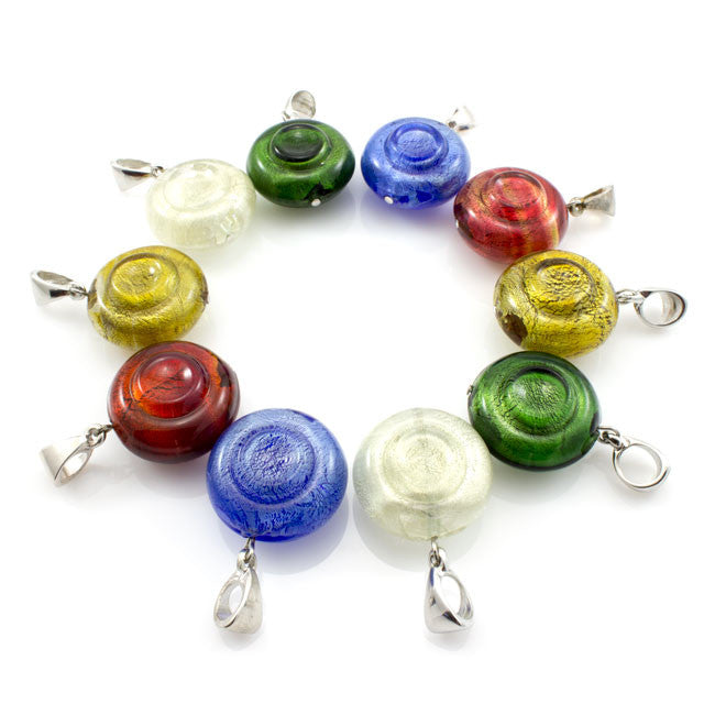NORIS – Yellow Murano Glass Candy Pendant - www.LaBellaDentro.com