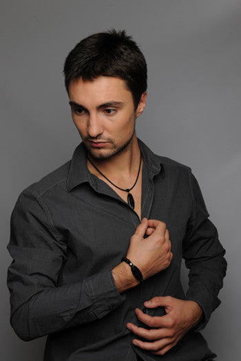 RIKI – Black Murano Glass Set for Men with Necklace and Bracelet - www.LaBellaDentro.com