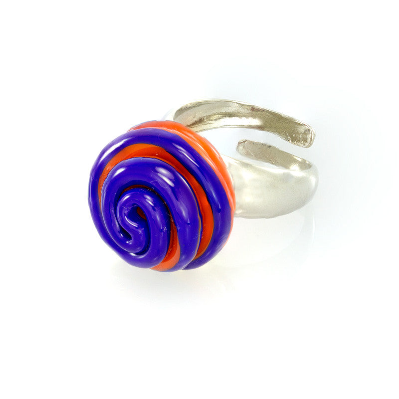 SERENA- Twisted Bead Ring, Orange and Blue - www.LaBellaDentro.com