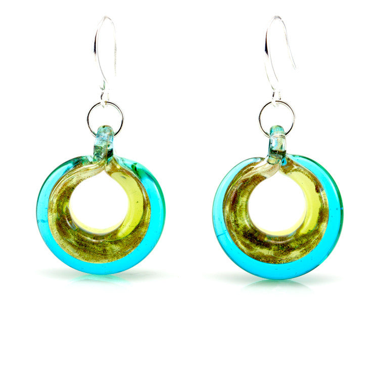 SELINA – Sterling Silver Murano Glass Circle Set with Necklace and Earrings - www.LaBellaDentro.com
