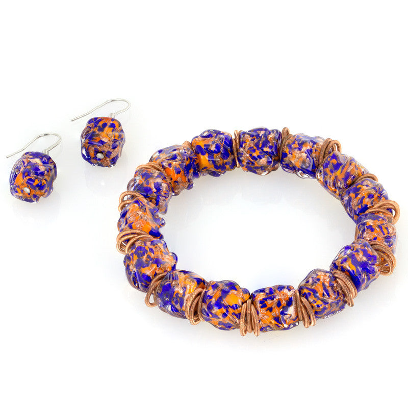 SIERRA – Murano Glass Beads Set with Earrings and Bracelet, Orange and Blue - www.LaBellaDentro.com
