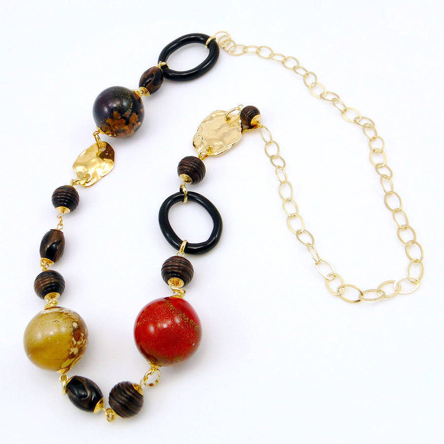 TIARA - Long Murano Glass Necklace With Gold Foil Inlay - www.LaBellaDentro.com