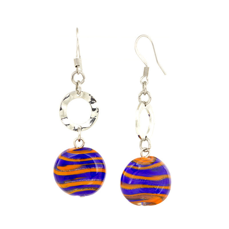 TINA - Orange and Blue Murano Glass Drop Disc Earrings - www.LaBellaDentro.com