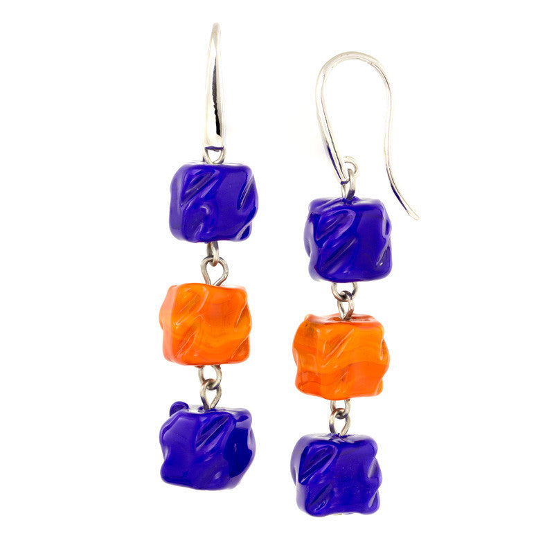 VIKA – Orange and Blue Murano Glass Cubes Drops Earrings - www.LaBellaDentro.com