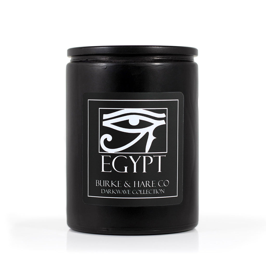 Black Goth Candle called Egypt with Eye of Horus on label. Cool Black Candle