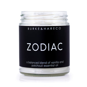 zodiac candle black label with white text, minimalist design label. goth candles with skull on side. tarot candle, witchy candle