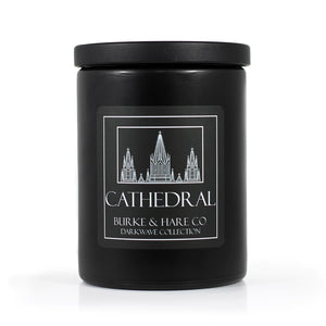 Cool Black Candle with Church on Label. Scented Candle for Goths