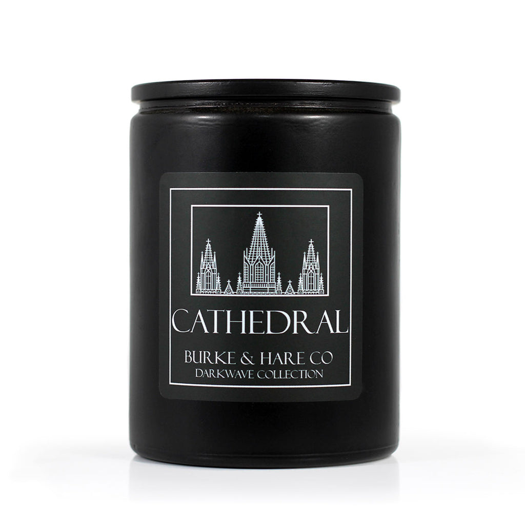 Goth Church candle. Black Candle with Cathedral on label. Cool modern candle