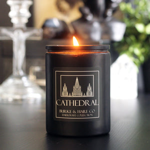 Church black candle with cathedral label. Black Scented Candle