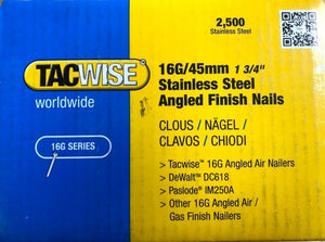 16 Gauge 20 Degree Stainless Steel Angled Brad Nails