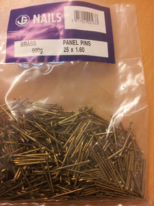 Brass Panel Pins 1.6 x 25mm