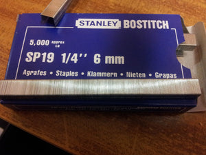 "Bostitch SP19 1/4"" 6mm Staples"