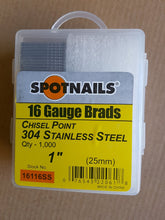 Load image into Gallery viewer, 16 Gauge Stainless Steel Brads 25mm - 50mm