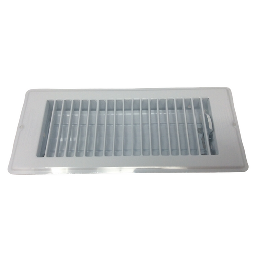 "4"" X 10"" White Rolled Face Floor Vent / Register"