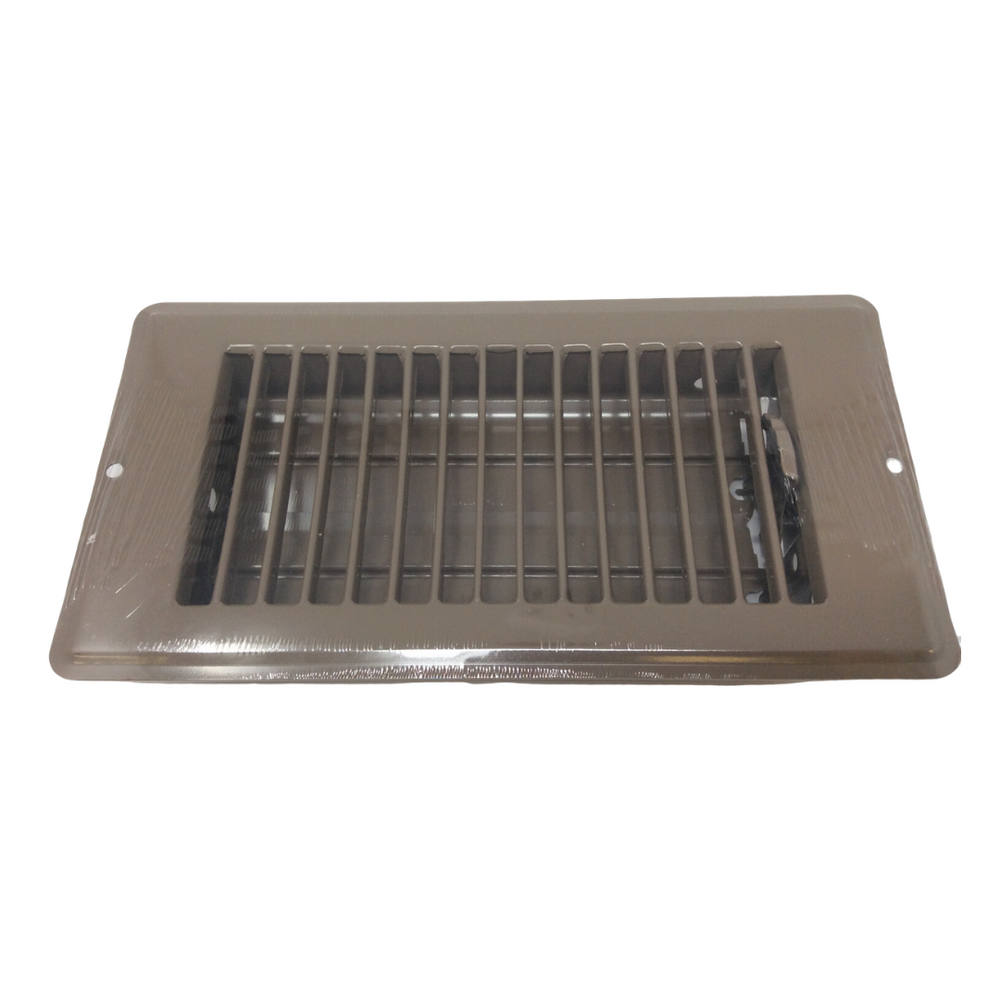 "4"" X 8"" Brown Rolled Face Floor Vent / Register"