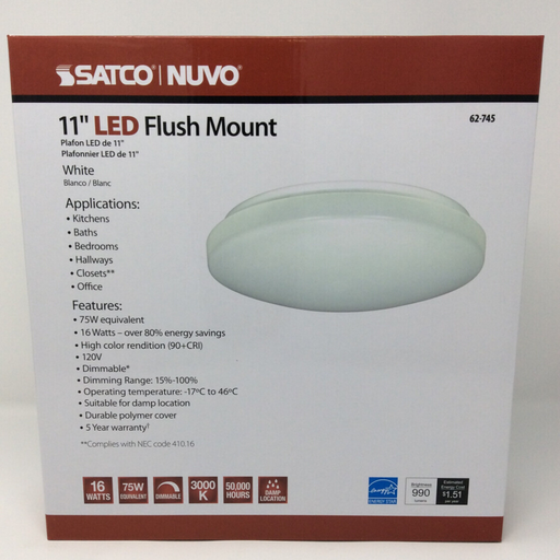 "11"" flush mounted led light front"