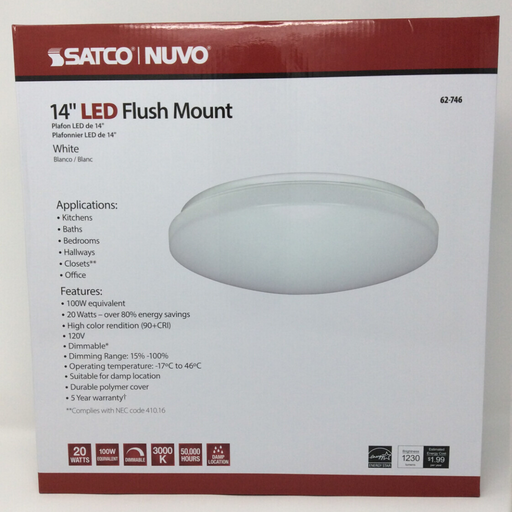 "14"" flush mounted led light front"