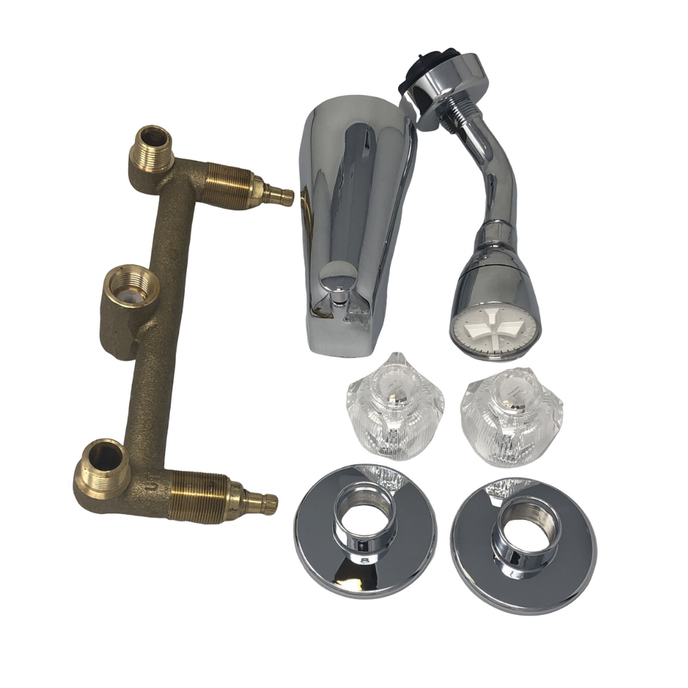 "8"" Chrome Diverter Faucet Brass Body & Stems with HAF"