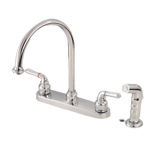 Brass Chrome Polished Kitchen Faucet J-Spout with Spray