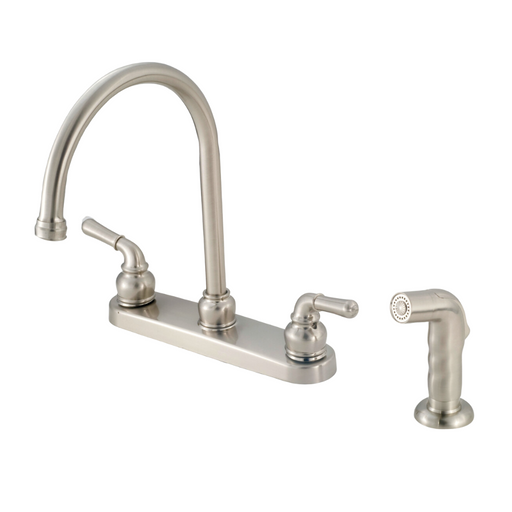 "8"" Kitchen Faucet With Goose-Neck Spout, Teapot Handles & Sprayer - Brushed Nickel"