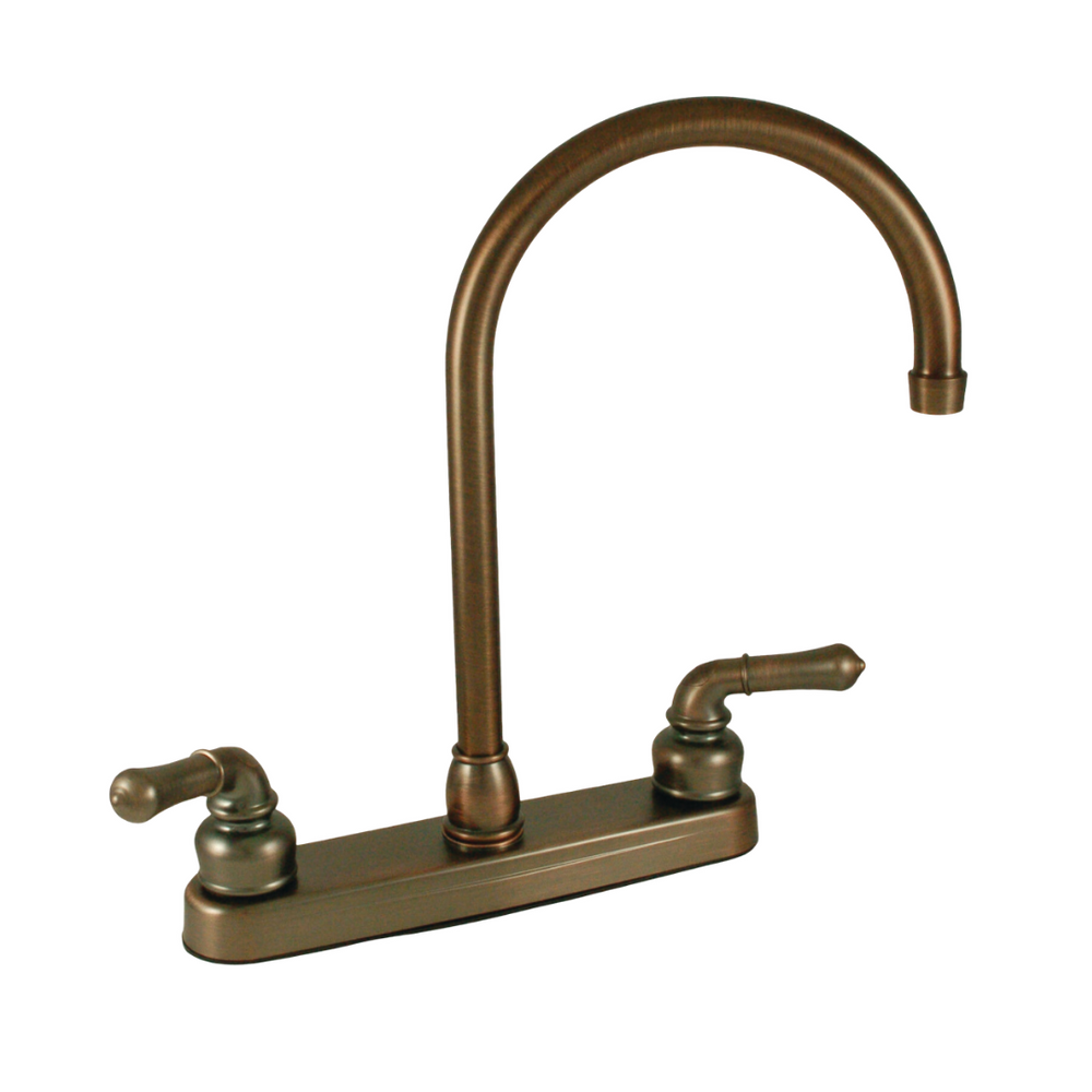 "8"" Kitchen Faucet with Gooseneck Spout, & Teapot Handles - Oil Rubbed Bronze"