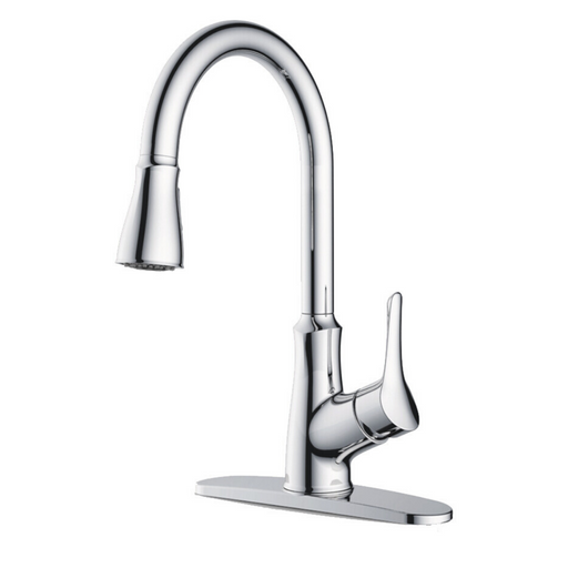 Single Lever Kitchen Faucet with Gooseneck Pull Down Sprayer - Chrome