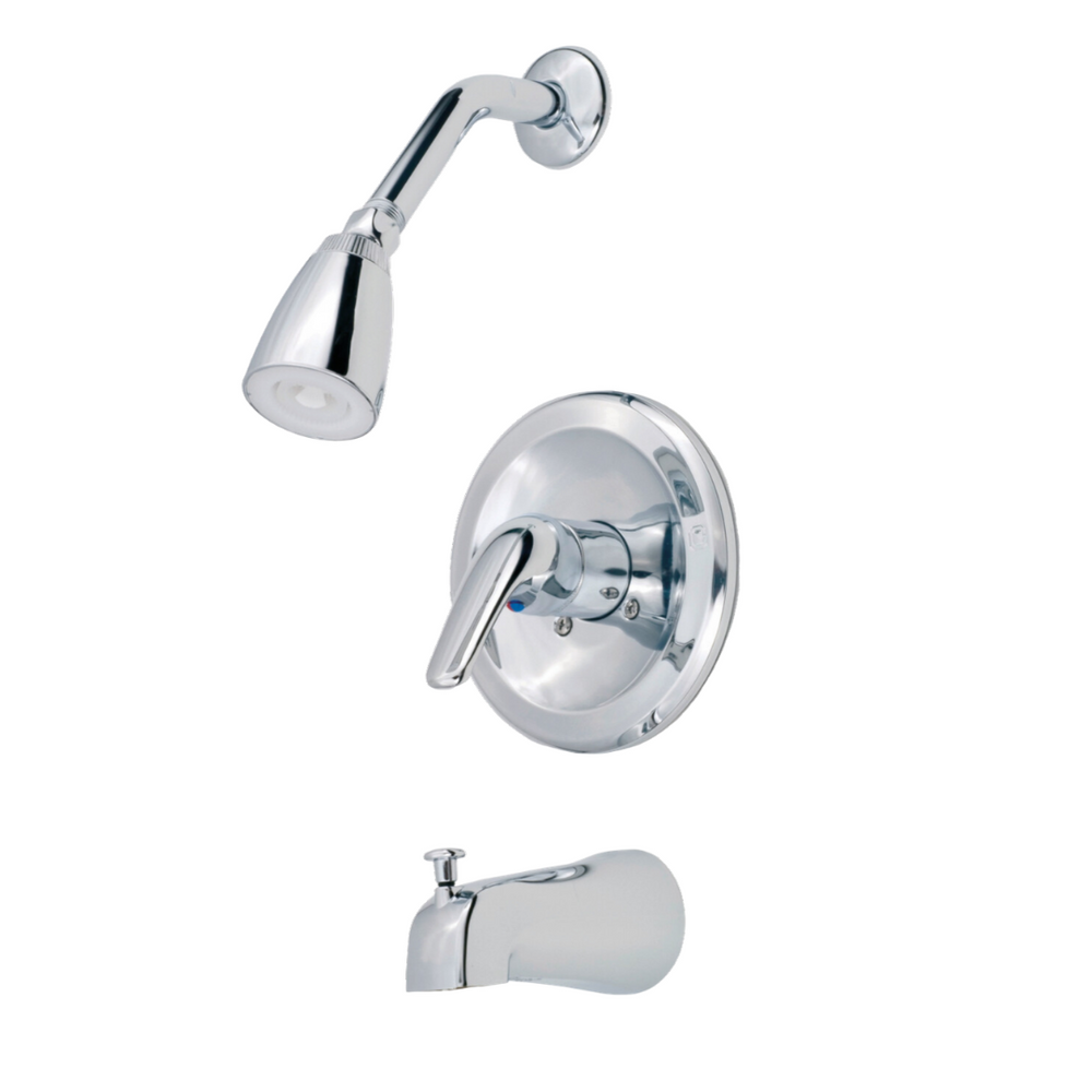Single Lever Metal Pressure Balancing Tub/Shower Diverter with Blade Handle & Shower Kit - Chrome