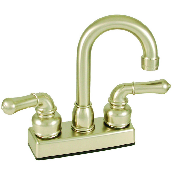 "4"" Bar Faucet With Teapot Lever Handles - Brushed Nickel"
