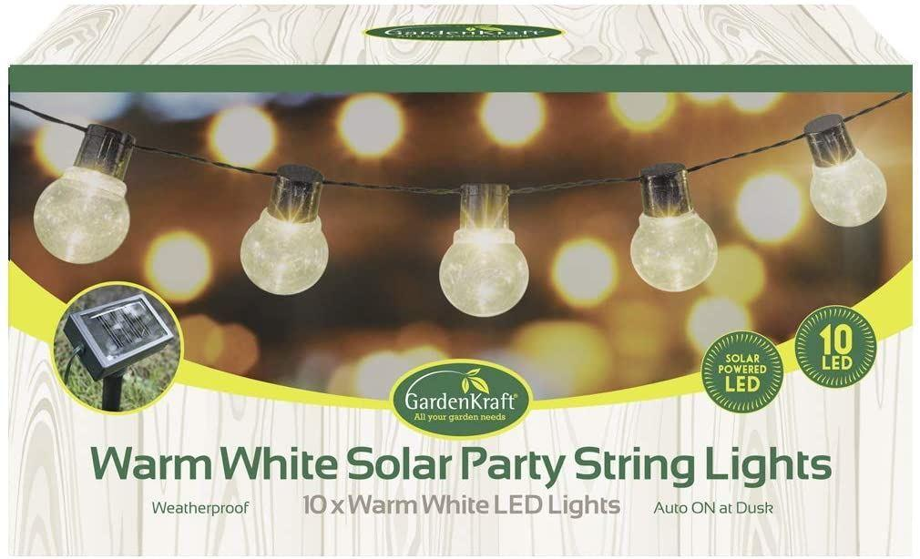 An image of 10 LED Solar Bulb Type Party String Lights, Warm White GardenKraft / AUTO-ON –...