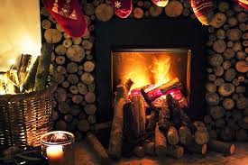 Real Log Fire in fireplace surrounded by log pile
