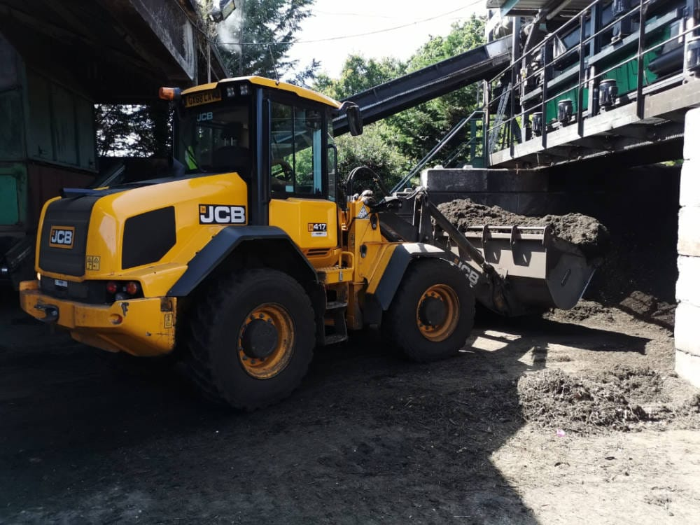 JCB tractor at the Olus composting facility