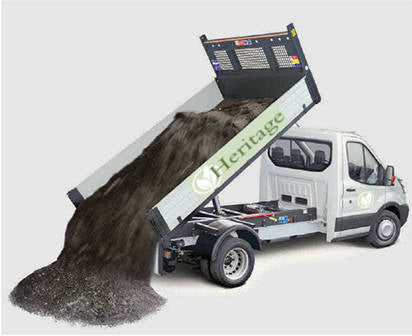 Heritage Products tipper lorry for loose landscaping materials delivery