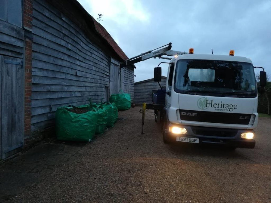 Garden waste bulk bag collected by Heritage lorry