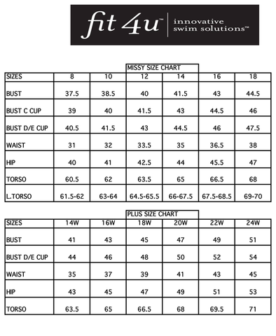 Fit4U sizing chart
