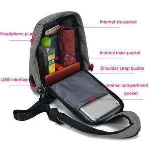 Minimalist Sling Bag with USB Port