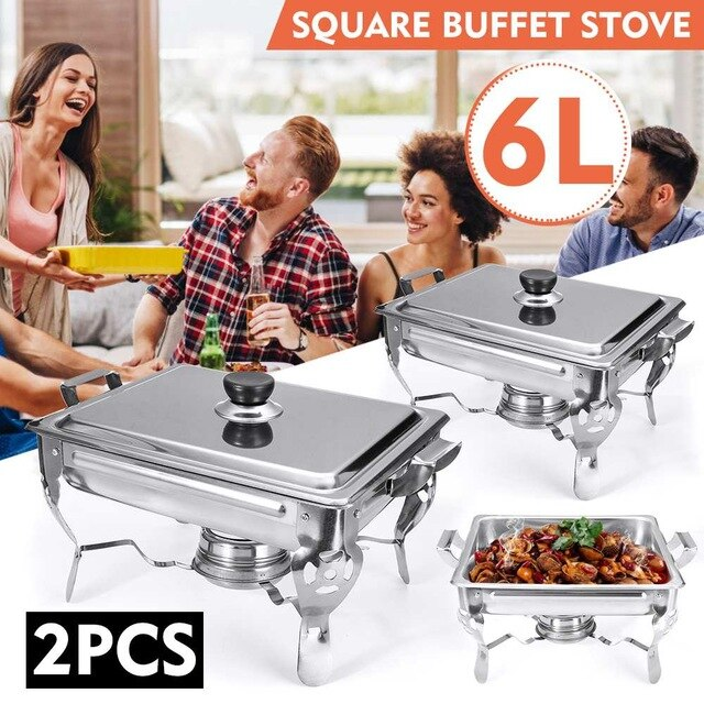 Stainless Steel Chafing Dishes [6 Quart Capacity, 1/2/4-Packs available]