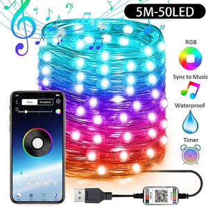 USB String Lights with Bluetooth Smartphone Control! (Full Color Control and Sync to Music Capability)