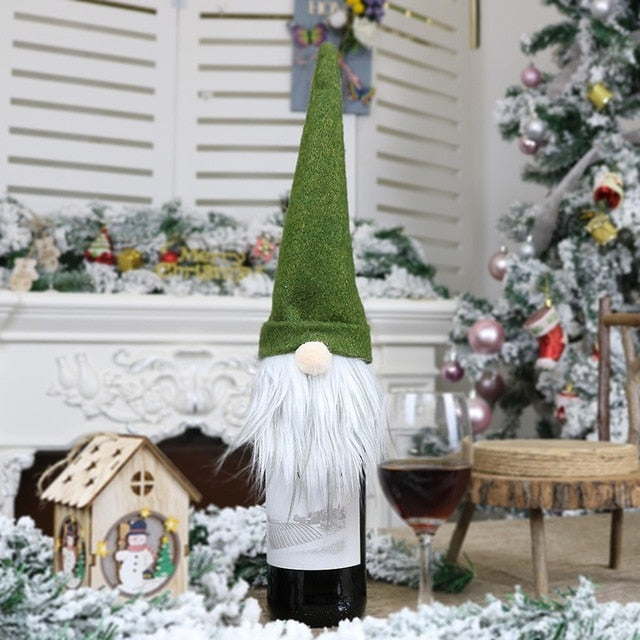 Christmas Gnome Wine Covers